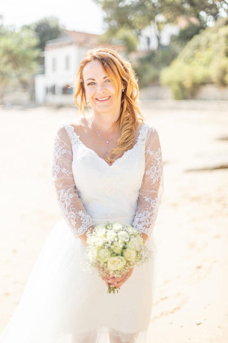 Portrait de mariée à la plage