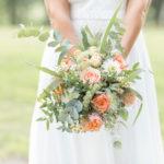 Photo de bouquet de mariée pêche